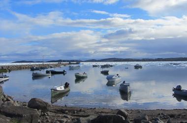 Boats by the breakwater