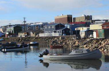 boats floating by Iqaluit