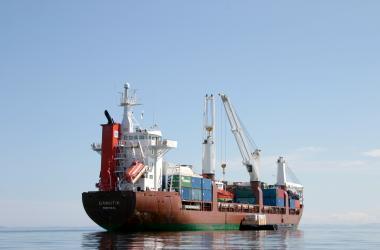 cargo ship in Frobisher Bay