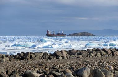 sealift ship in icy Frobisher Bay