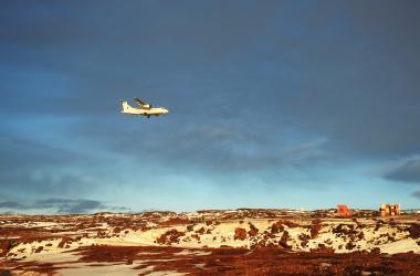 Small plane landing in Iqaluit