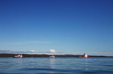 three coast guard ships in Frobisher Bay